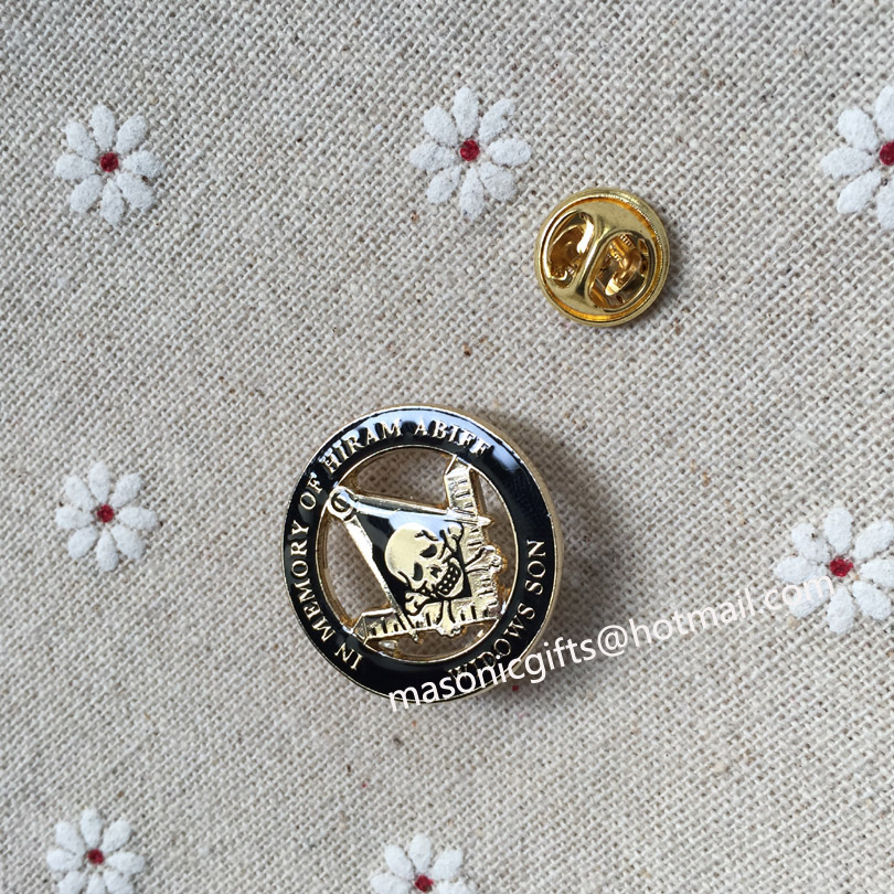 Custom Masonic Regalia Skull and Crossbones Square and Compass Lapel