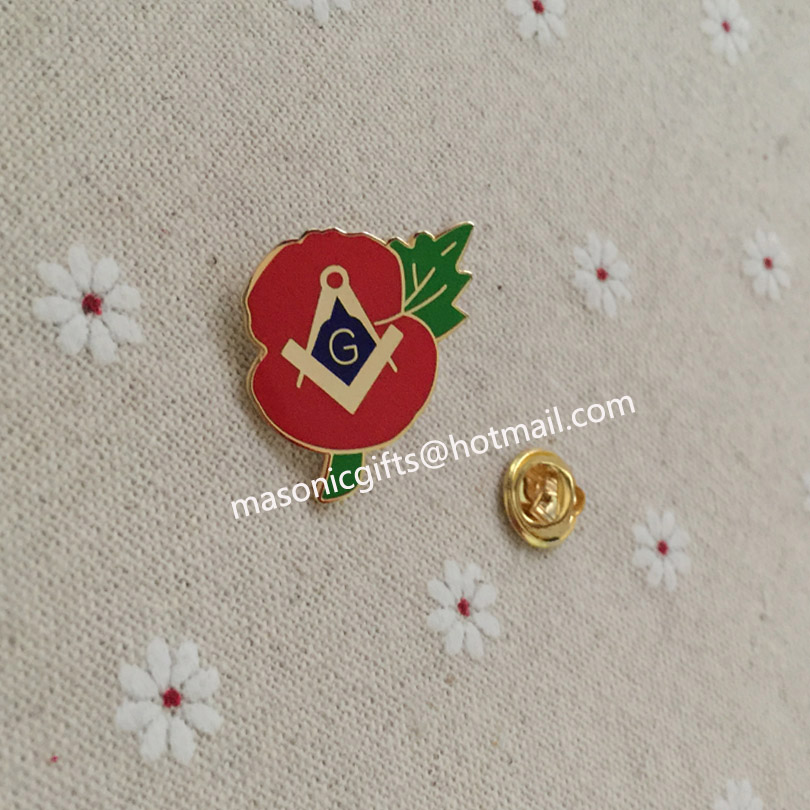 Masonic Crested Poppy Enamel Lapel Pin Badge With G Flower pin badge